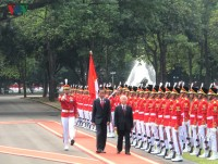 grand welcome for party general secretary trong in jakarta