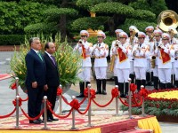 in photos welcome ceremony for hungarian pm in hanoi