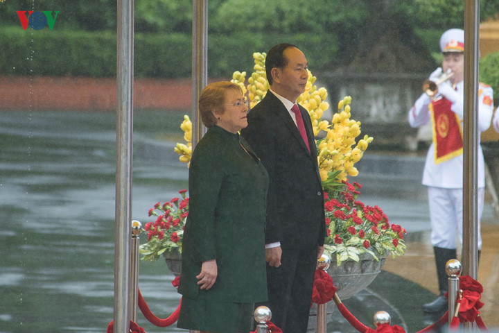 welcoming ceremony for chilean president in hanoi