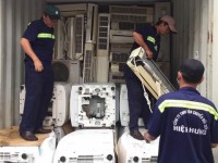 seize smuggled shipment of over 300 sets of used air conditioner at cai lai port