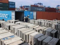 over 1100 air conditioners inside 3 smuggled containers