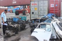 dozens of banned automotive engines in transit shipments
